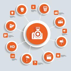Photography concept info graphics,orange vector