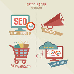 Retro marketing business icons,vector