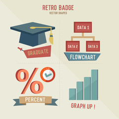 Retro Education business icons,vector