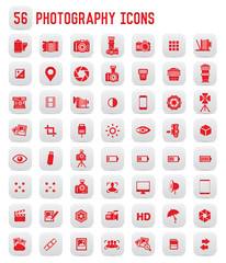 56 Photography icons,red buttons