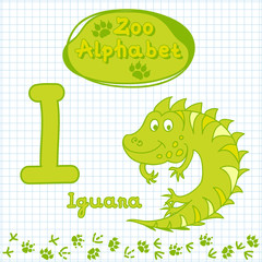 Colorful children's alphabet with animals, iguana
