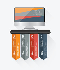 Monitor Infographic design on white background,vector
