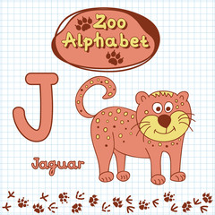 Colorful children's alphabet with animals, jaguar
