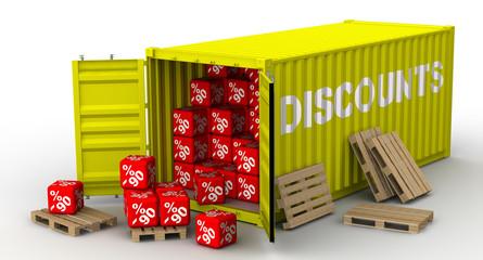 Грузовой контейнер заполненный 90% скидками