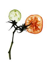 Blume aus Gurkenscheibe und Tomatenscheibe