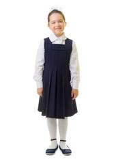 Little smiling schoolgirl isolated