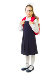Little smiling schoolgirl isolated