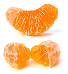 peeled mandarin segment isolated on white background