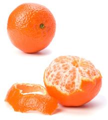 peeled mandarin isolated on white