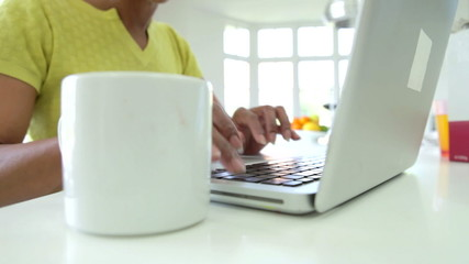 Close Up Of African American Woman Using Laptop At Home