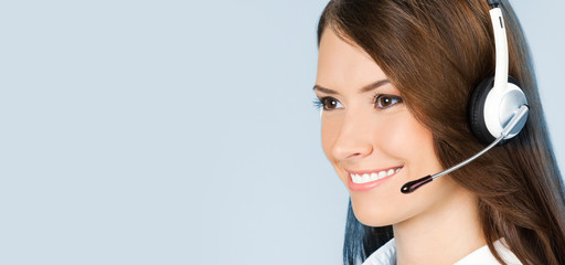 Support phone operator in headset, on blue