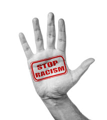 Male Hand With Stamp Stop Racism, Isolated Over White