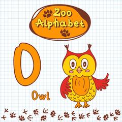 Colorful children's alphabet with animals, owl.