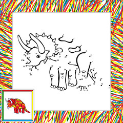 Funny cartoon triceratops dot to dot