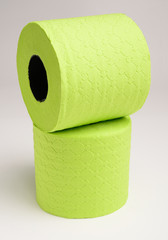 Rolled up green toilet paper.