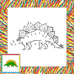 Funny cartoon stegosaurus dot to dot