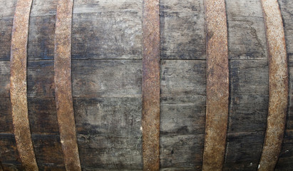 Detail of an old wooden barrel
