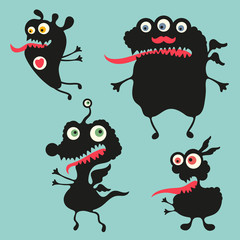 Happy monsters vector images. Set 11