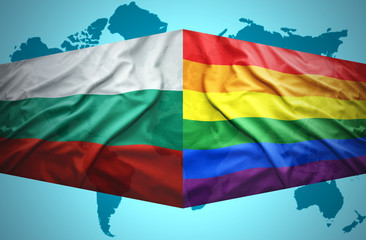 Waving Bulgarian and Gay flags
