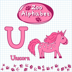 Colorful children's alphabet with animals, unicorn