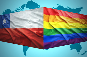 Waving Chilean and Gay flags