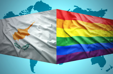 Waving Cypriot and Gay flags