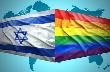 Waving Israeli and Gay flags