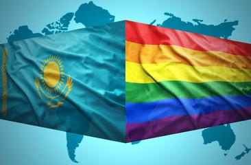 Waving Kazakh and Gay flags