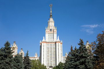 Moscow State University building in bright summer day