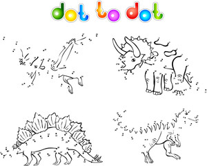 Coloring book of dinosaurs dot to dot