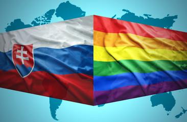 Waving Slovak and Gay flags