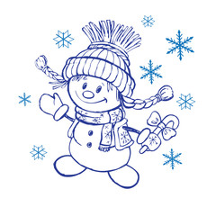 little snowman on a white background