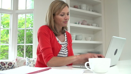 Time Lapse Sequence Of Woman Working From Home Using Laptop