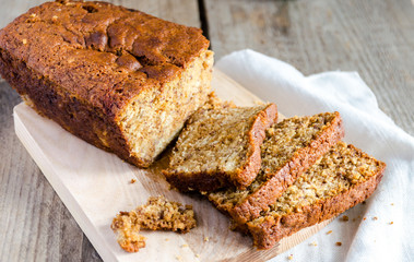Loaf of banana bread with apple confiture