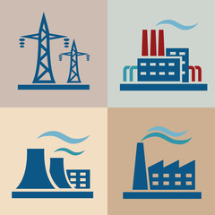 power plan, electrisity icons set