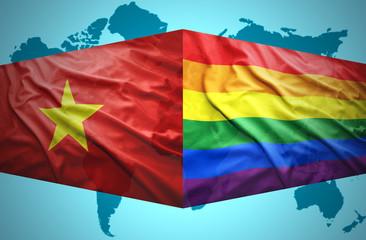 Waving Vietnamese and Gay flags