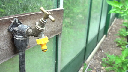 Slow Motion Sequence Of Dripping Tap In Garden