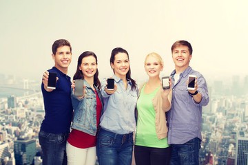 students showing blank smartphones screens