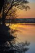 Rural summer sunrise landscape with river