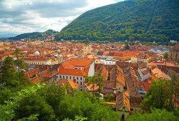Historic city center in Brasov (Kronstadt). Transylvania, Romani