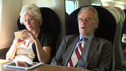 Two Senior Businesspeople Commuting On Train