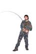 Fisherman throwing fishing rod
