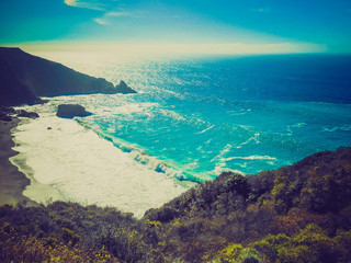 Retro look Big Sur beach California