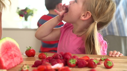 Slow Motion Sequence Of Girl Eating Strawberry
