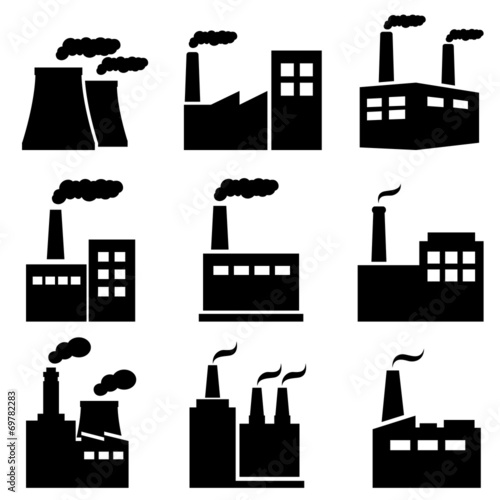 Factory, power plant industrial icons - 69782283