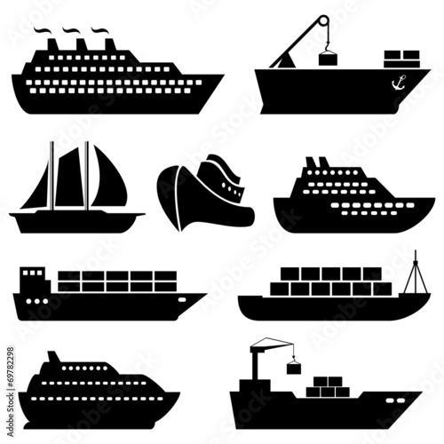 Fototapeta Ships, boats, cargo, logistics and shipping icons