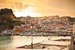 Leinwandbild Motiv Beautiful panoramic view of Parga port in the evning, Greece.