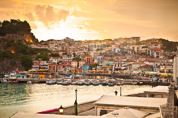 Beautiful panoramic view of Parga port in the evning, Greece.