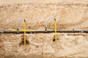 Grundwasserabsenkung - Filternadeln an einer Sammelleitung