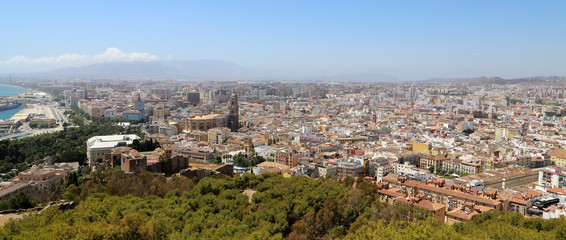 Malaga in Andalusia, Spain. Aerial view of the city